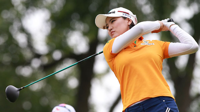 So Yeon Ryu tees off on the third hole during the final round of the Canadian Women's Open on Sunday.