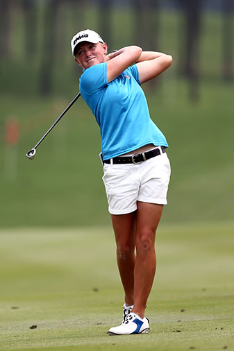 Stacy Lewis plays a shot on the 16th hole during the first round of the Sime Darby LPGA Malaysia.