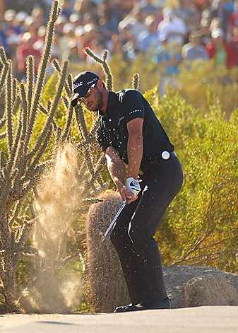 Kyle Stanley made this escape from the cactus on the 17th hole to help propel him to victory in Phoenix.
