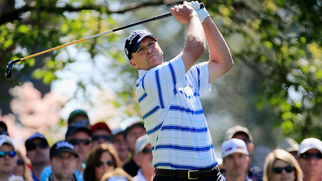 Steve Stricker hits a tee shot on the fourth hole during the first round of the Masters.