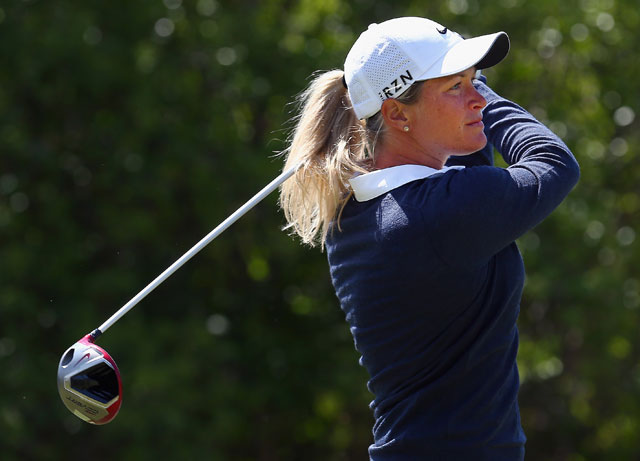 Suzann Pettersen hits a tee shot during her opening-round 66 at the North Texas LPGA Shootout.