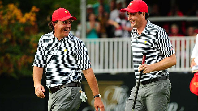 Phil Mickelson and Keegan Bradley teamed up to beat darkness and win their Friday alternate-shot match 4 & 3.