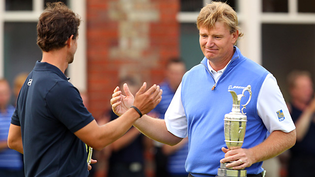Ernie Els shot a Sunday 68 to win by one after Adam Scott closed with four straight bogeys.