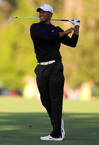 Tiger Woods shot a three-over 75 in the second round at Augusta National.