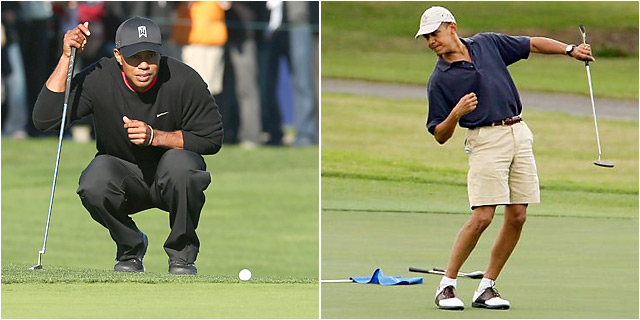 Tiger Woods and Barack Obama teed off together at the Floridian, a secluded yacht and golf club.