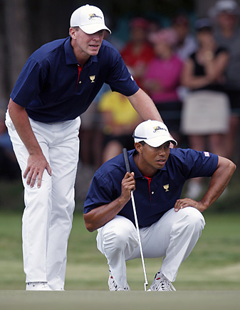 Tiger Woods and Steve Stricker suffered their worst loss in match-play competition, but the U.S. still leads 4-2 after the opening matches.