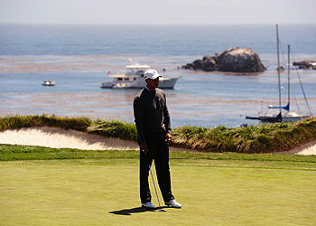 Tiger Woods after missing a birdie putt on the fourth hole Thursday.