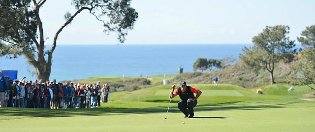 Tiger Woods shot a 72 in the final round to win by four shots at Torrey Pines.