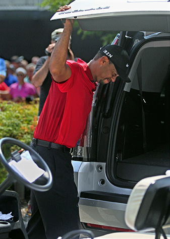 Tiger Woods after withdrawing from the final round of the 2014 WGC-Bridgestone Invitational at Firestone Country Club.
