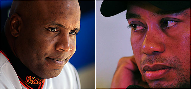 San Francisco's most famous athlete, Barry Bonds, and the most famous athlete there this week, Tiger Woods.