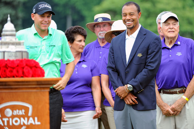 Tigers Woods congratulates Bill Haas after the AT&T National last year at Congressional Country Club.