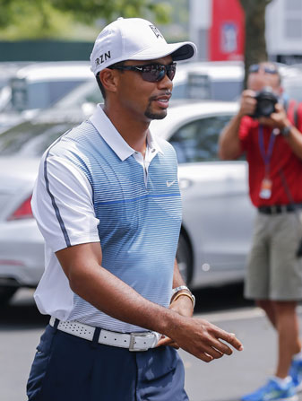 Tiger Woods arrives Wednesday at Valhalla Golf Club.