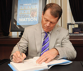 """Tom Watson signing copies of """"A Timeless Swing"""" Tuesday in New York."""