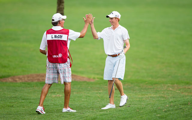 Lee McCoy shot a 3-under 68 on Tuesday to post a 36-hole score of 8-under 135 and share co-medalist honors with Taylor Moore.