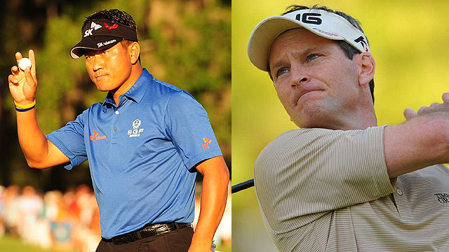 K.J. Choi (left) earned more money in 2011 than Mark Wilson, who won two of the first five PGA Tour events.