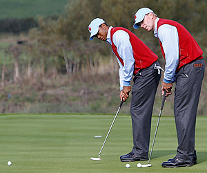 Tiger Woods and Steve Stricker Tuesday at Celtic Manor.