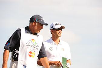 Adam Scott and former caddie Steve Williams at the 2014 Arnold Palmer Invitational.
