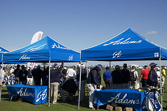 The Adams Golf booth at the PGA Merchandise Show's Demo Day at Orange County National in Winter Garden, Fla., in January.