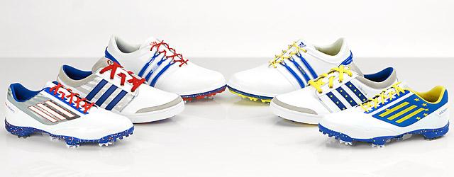 Adidas custom U.S. (left) and European Ryder Cup team golf shoes.