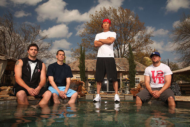 Anthony Kim in Dallas in 2010 with friends [from near right] Stephen Ferguson, Ryan Todney and Brodie Flanders.