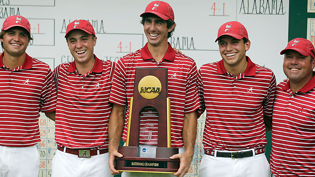 Alabama golfers, from left to right, Bobby Wyatt, Justin Thomas, Scott Strohmeyer, Cory Whitsett and assistant coach Rob Bradley pose with the trophy after defeating Illinois to win the NCAA men's golf championship.