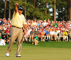 Wearing a shirt and pants that are similar in color helped Cabrera look thinner at Augusta.