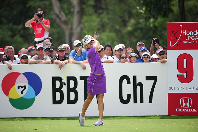 Anna Nordqvist plays her shot during the fourth round of the Honda LPGA on Sunday in Chonburi, Thailand.