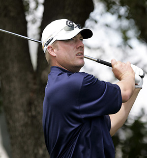 Defending champion Brett Wetterich was on the course Wednesday for the Byron Nelson pro-am.