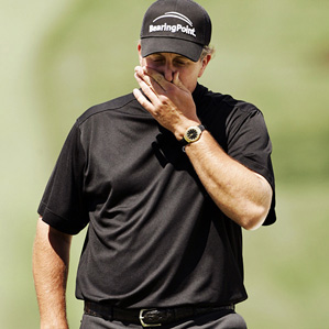 Phil Mickelson's opening-nine 40 included two birdies, four bogeys, and a double bogey on No. 5.