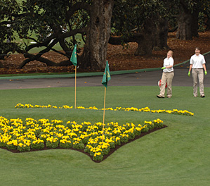 Flowers in the shape of the Augusta National logo.