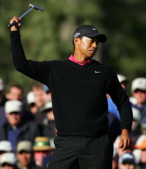 Woods made eagle on No. 13, but he parred in to shoot a second consecutive 72 and finish three over par. He tied for second with Retief Goosen and Rory Sabbatini.