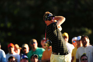 Ian Poulter made three birdies, three bogeys and a double bogey in the third round.