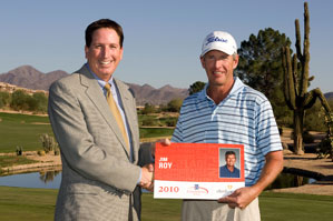 Jim Roy, right, with Champions Tour president Mike Stevens.
