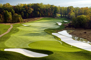 The par-4 6th hole                 demands a middle-of-                 the-road strategy                 with danger lurking                 too far left and right.