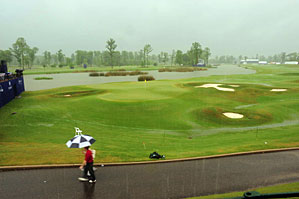 More than 2 inches of rain fell on the golf course Friday afternoon.