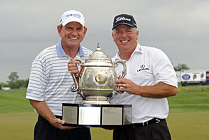 Mark O'Meara (right) and Nick Price combined to shoot a 62 on Sunday.