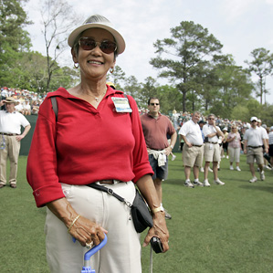 Grace Wilson, mother of golfer Dean WIlson, follows her son during his practice round for the 2007 Masters.