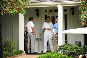 Phil Mickelson, left, chatted with his caddie, Jim Mackay, outside the Augusta National clubhouse on Sunday.