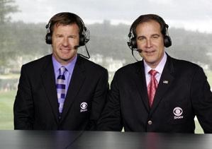 Jim Nantz, right, (with CBS partner Nick Faldo) will call his 25th Masters in April.