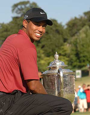After winning this year's PGA Championship, Tiger Woods is five majors away from breaking the record of 18 major victories set by Jack Nicklaus.