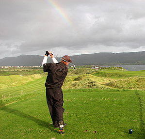 Coyne tees off on the 17th hole in Waterville.
