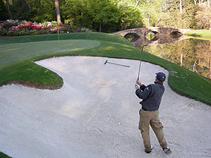 Cameron Morfit blasted out of the sand on the 12th hole at Augusta National.