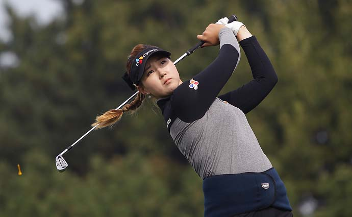 Kyu-Jung Baek of South Korea hits a tee shot during day four of the KEB Hana Bank Championship at Sky 72 Golf Course on Sunday in Incheon, South Korea