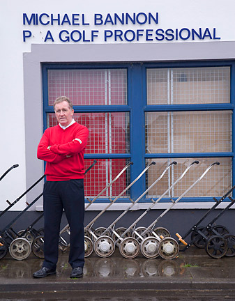 """OFFICE SPACE: Bannon outside the Bangor G.C. pro shop. (Time to order a new """"G."""")"""