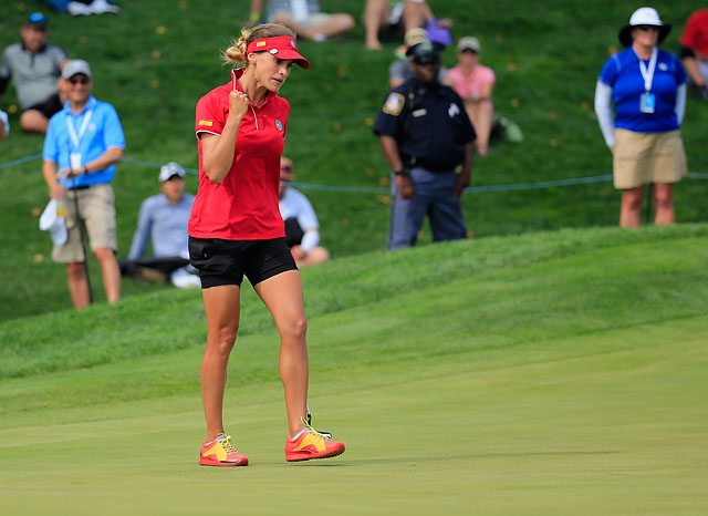 Belen Mozo celebrates after making a putt on the 16th green to give Spain the victory in the inaugural International Crown.