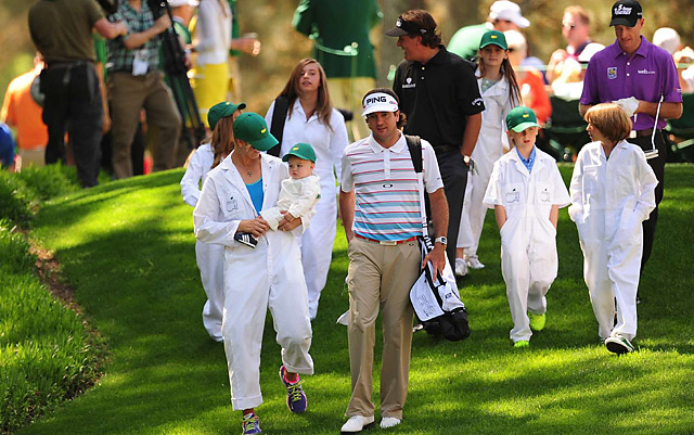 Bubba Watson with his wife, Angie, and son, Caleb, at the Masters Par 3 Contest.
