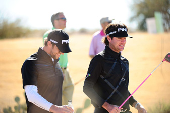 Bubba Watson, right, played with Michael Phelps during the pro-am Wednesday at the Phoenix Open.
