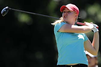 Charley Hull plays a tee shot during day three of the 2014 Ladies Masters at Royal Pines Resort on Feb. 8, 2014 on the Gold Coast, Australia.