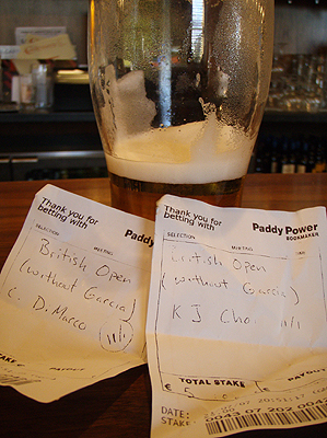 As I learned during Open week, beer and betting slips are as Irish as it gets.