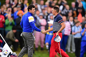 Rory McIlroy beat Rickie Fowler 5 and 4 to put the first point for Europe on the board Sunday.